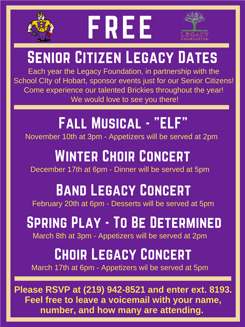 Legacy Events for our Senior Citizens